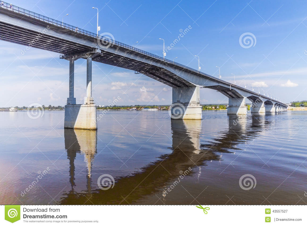 Road Bridge Over A Large River Stock Photo.