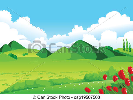 Vector Clipart of Blue Sky, Green Fields and Distant Hills.