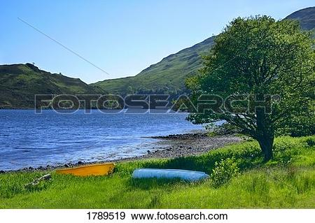 Stock Photograph of Waterside and distant hills 1789519.