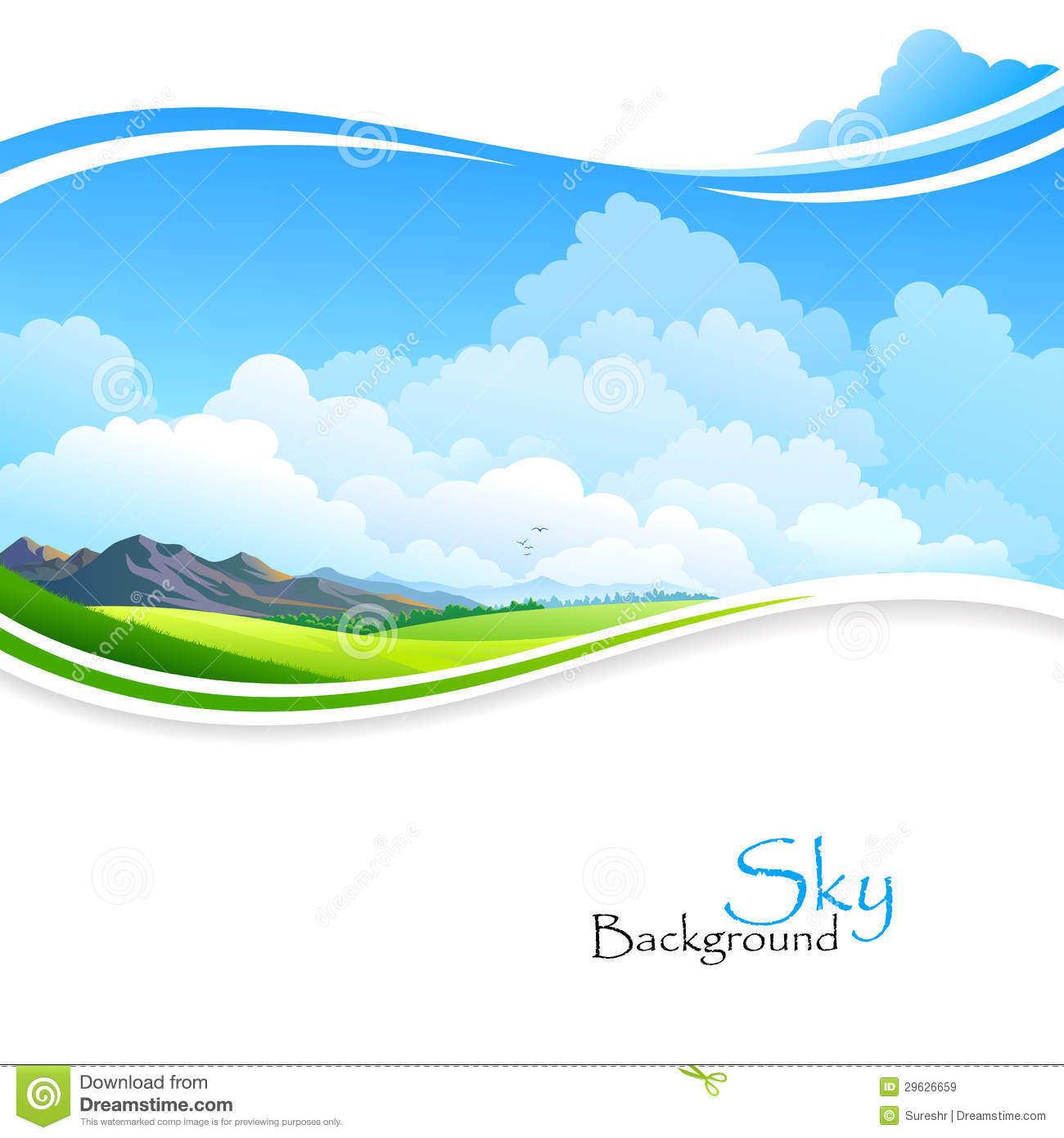 Blue Sky ,Green Fields And Distant Hills Royalty Free Stock Images.