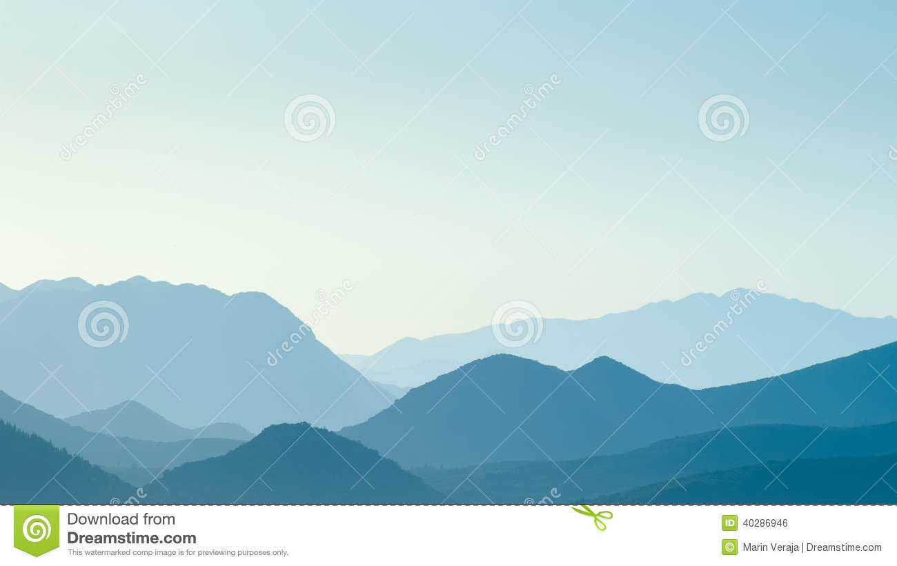 Distant Blue Hills In Distance Stock Photo.