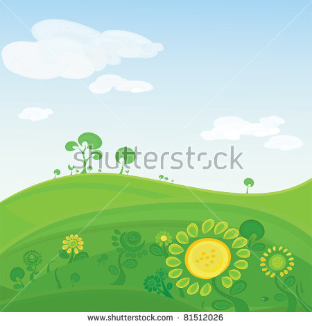 Vector Landscape. Green Valley With Colorful Flowers And Distant.