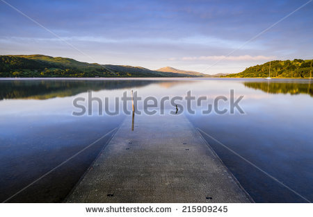 Jetty Reflected Still Water Coniston Water Stock Photo 97807094.