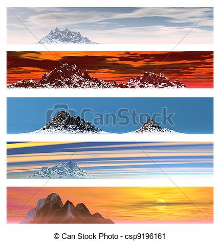Clipart of Five Distant Mountain Landscape Banners.