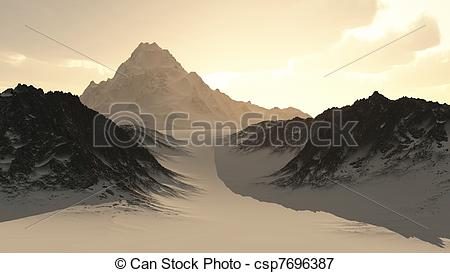 Stock Illustrations of Distant Lonely Mountain Peak.