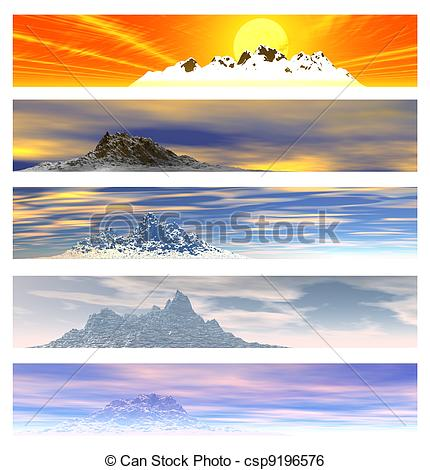 Stock Illustration of Five Distant Mountain Landscape Banners.