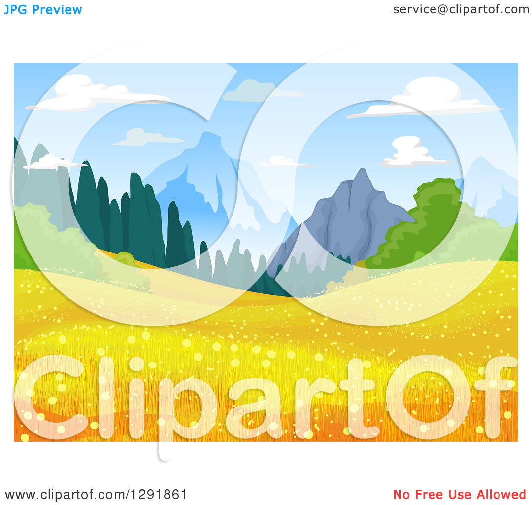 Clipart of a Meadow with Golden Flowers and Mountains in the.