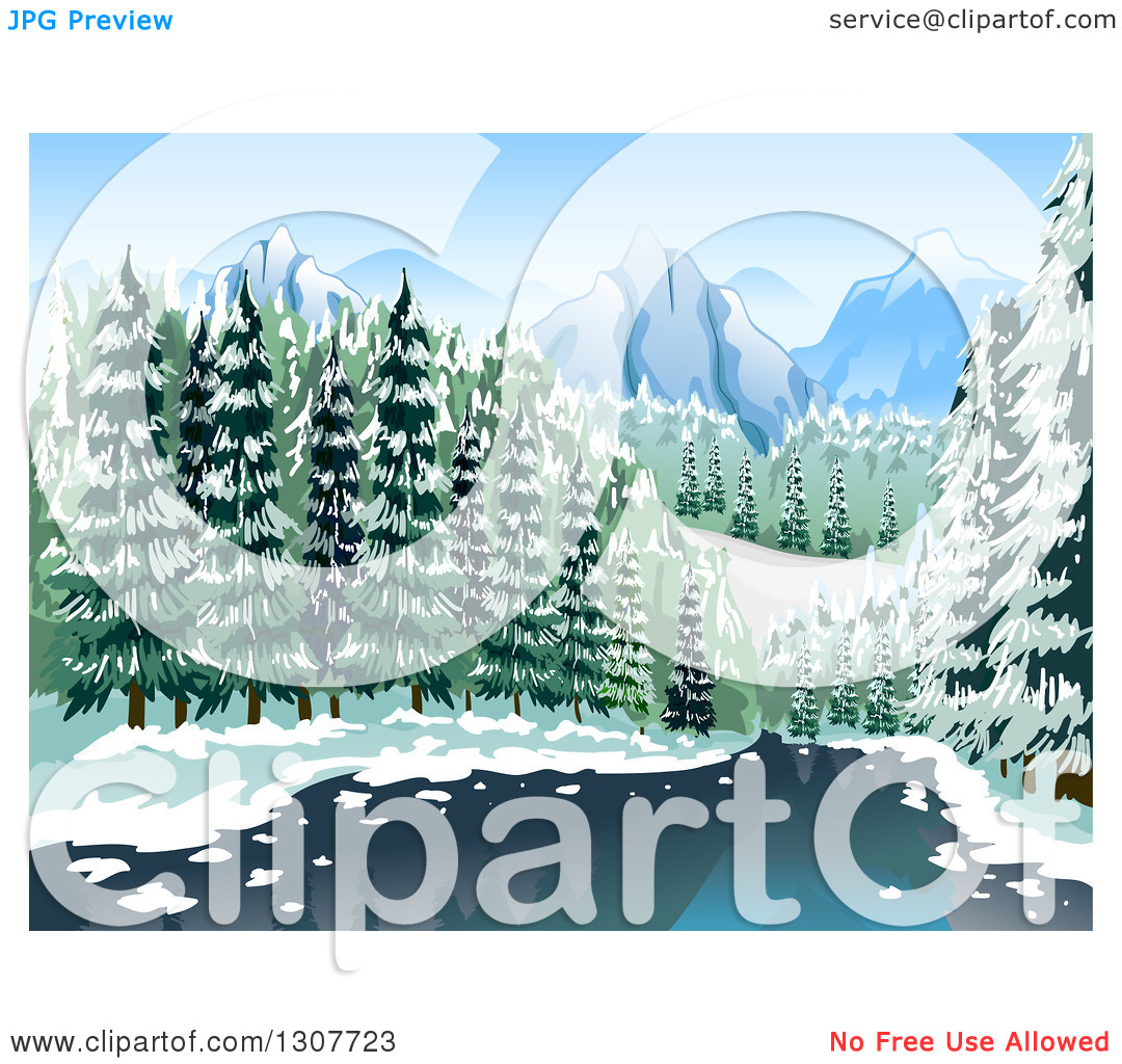 Clipart of a River Through a Winter Forest with Mountains in the.