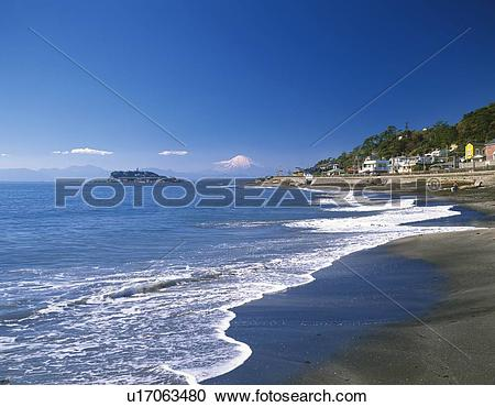 Stock Photography of Distant view of Mt. Fuji from beach in.