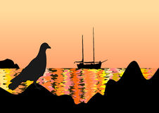 Distant View Sailing Boat Against Sunrise Sky Stock Illustrations.