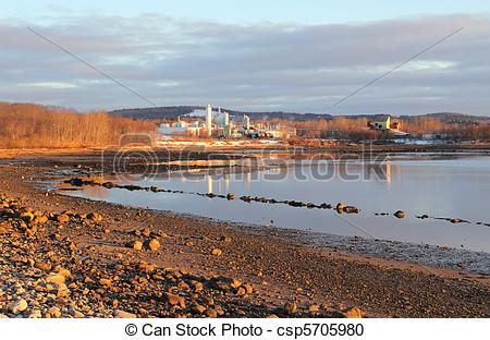 Stock Photography of Distant view of chemical factory.
