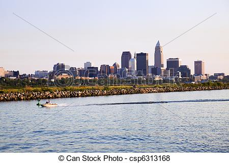 Pictures of Distant view of downtown Cleveland.