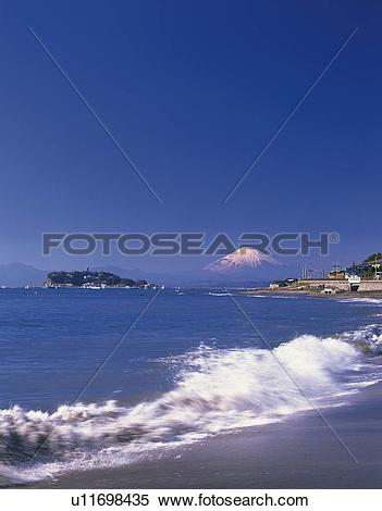 Stock Image of Distant view of Mt. Fuji from beach in Kamakura.