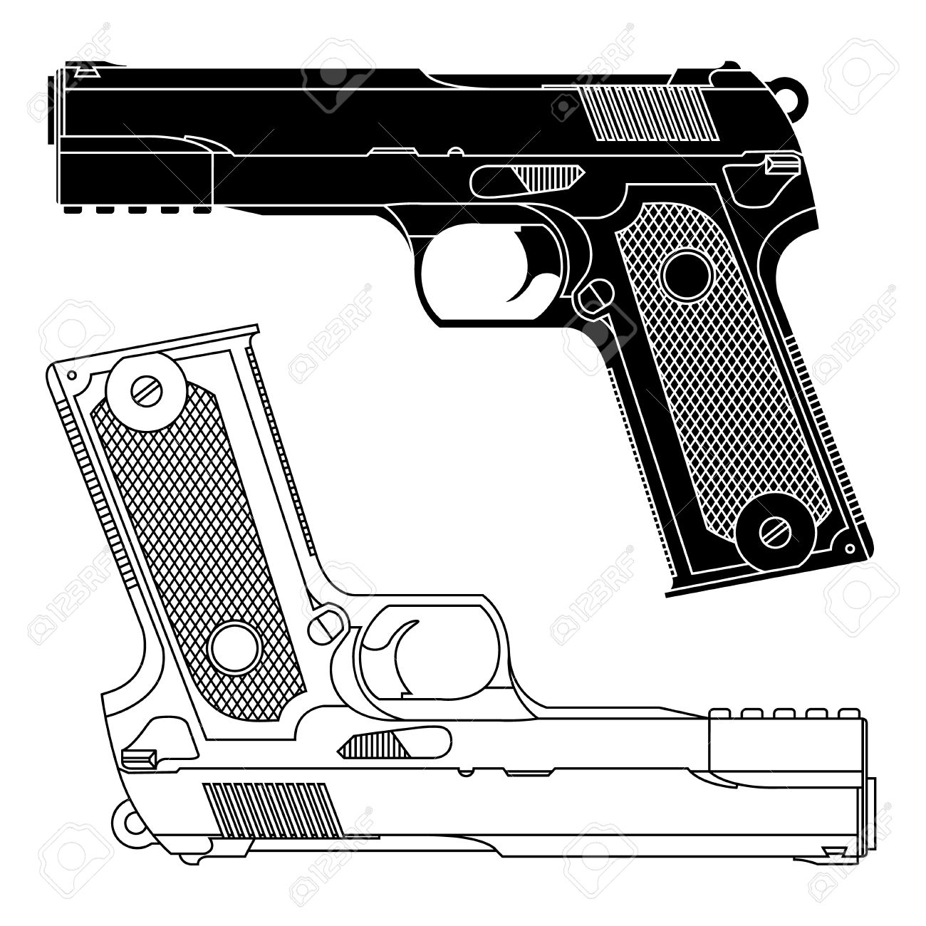 Technical Line Drawing Of A 9mm Pistol Handgun. Precise Lines.