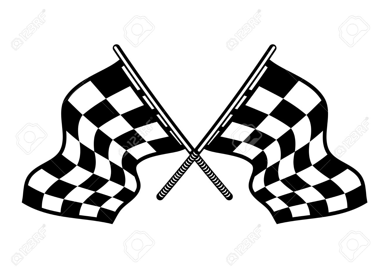 Crossed Motor Sport Flags With Their Distinctive Black And White.