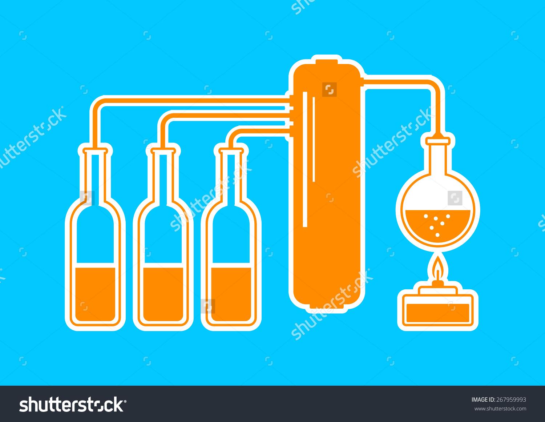 Orange Distillation Kit On Blue Background Stock Vector.