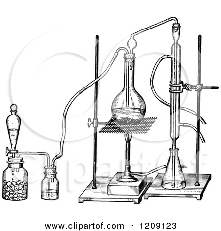 Clipart of a Vintage Black and White Alcohol Distillation.