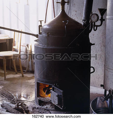 Stock Photography of Still for distilling mirabelle plum Eau.