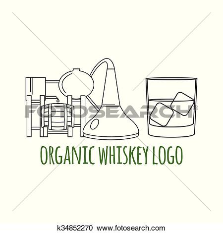 Clipart of Modern line style logo, branding, logotype, badge with.