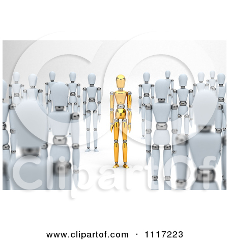 Clipart Of A 3d Unique Gold Mannequin Standing Out In A Crowd Of.