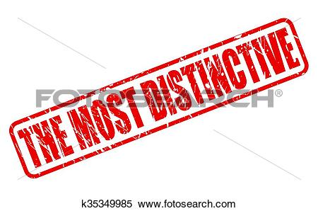 Clipart of THE MOST DISTINCTIVE red stamp text k35349985.