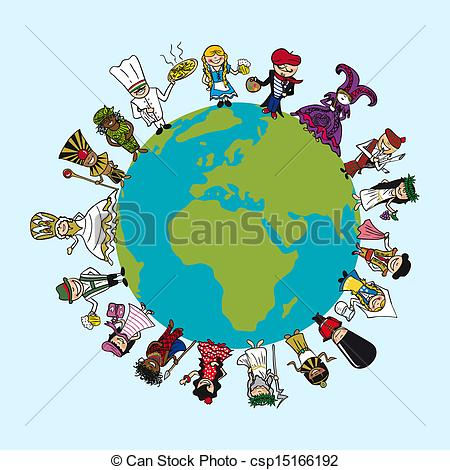 Vector of World map, diversity people cartoons with distinctive.