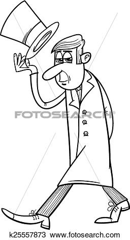 Clipart of distinguished man coloring page k25557873.