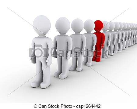 Clip Art of Distinguishing in a line of people.