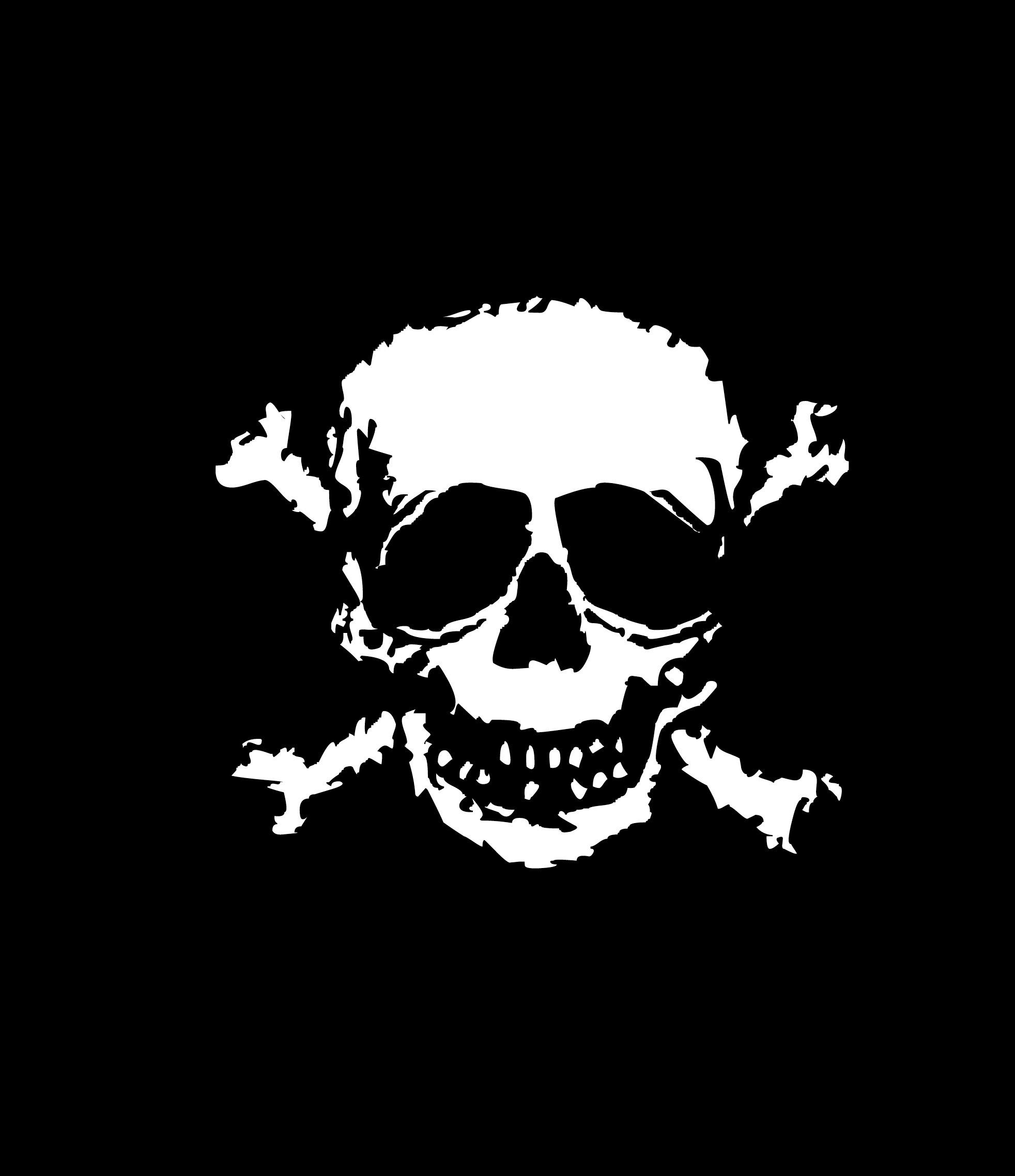 Image of distored skull and crossed bones.