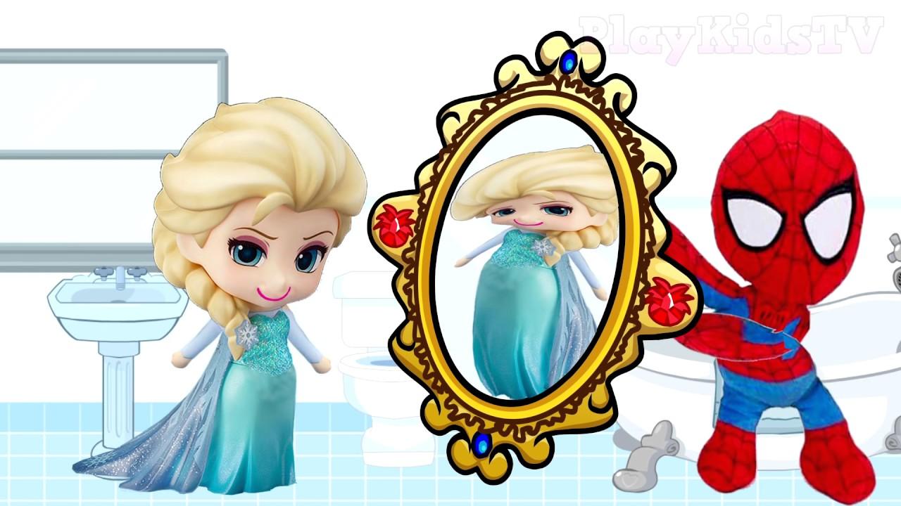 Spiderman distorting mirror Frozen Elsa Finger Family Superheroes.