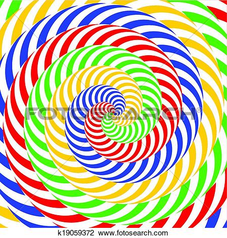 Clipart of Design colorful whirlpool circular movement illusion.