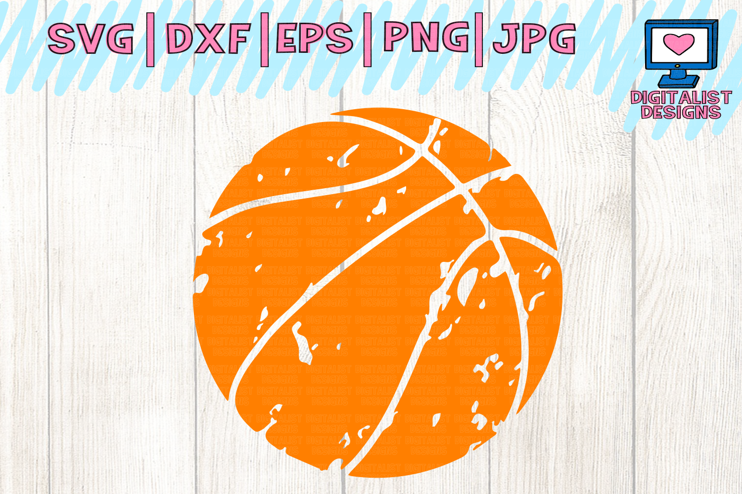 Distressed basketball svg, basketball clipart.