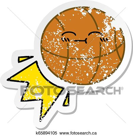 Distressed sticker of a cute cartoon basketball Clipart.