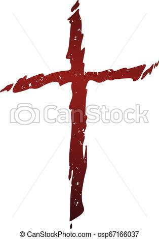 Old rugged distressed christian cross with blood red gradient tones  isolated vector illustration.