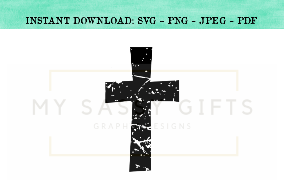 Distressed Rustic Christian Cross SVG Design Cut File For Silhouette.