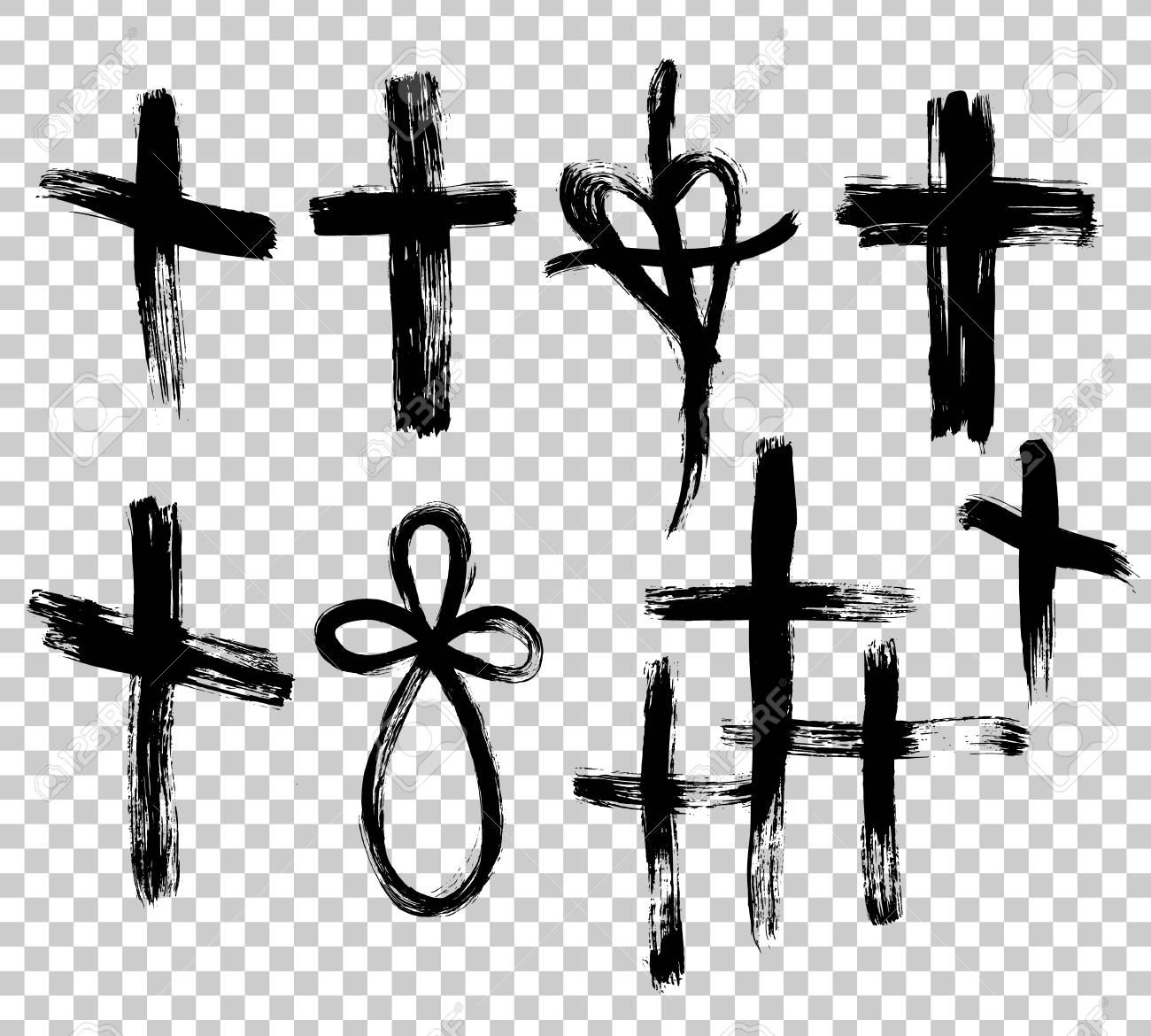 Hand drawn cross. Grunge cross. Cross made with brush stroke...