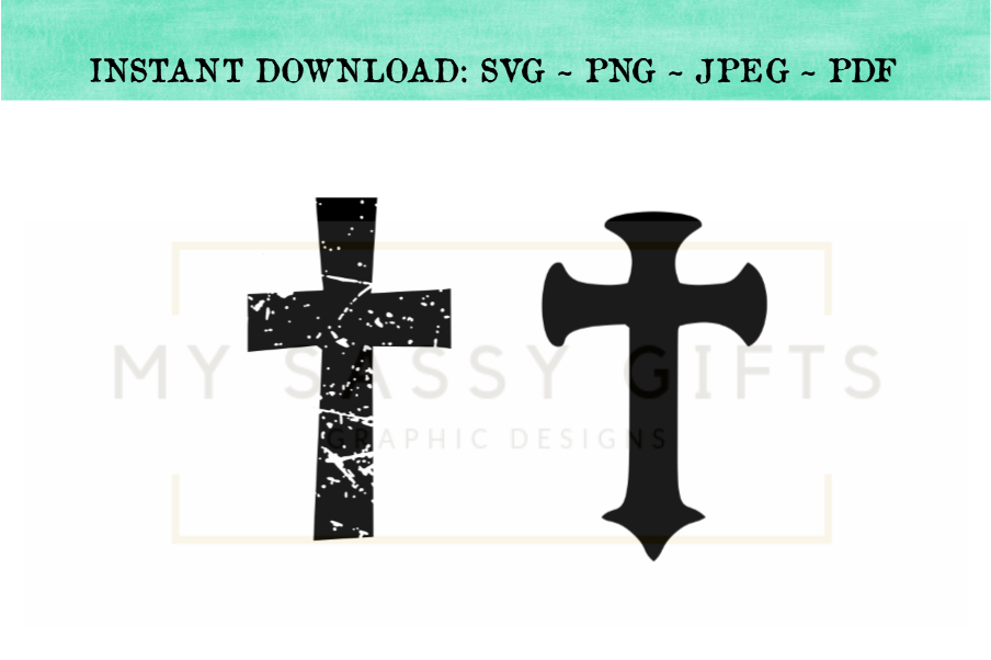 Christian Cross Distressed Easter SVG.