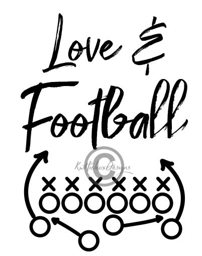 Distressed Love & Football Svg, Dxf, Eps.