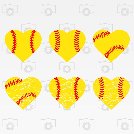 Heart Softball svg.