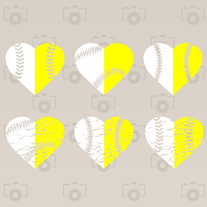Distressed Heart Baseball Softbal lDigital clipart for Design,Cut  file,Print or more. Instant files download svg, png, dxf.
