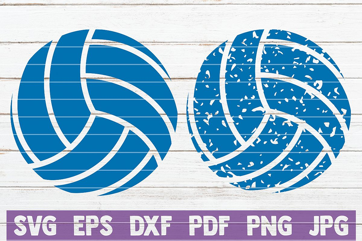 Distressed Volleyball SVG Cut File.