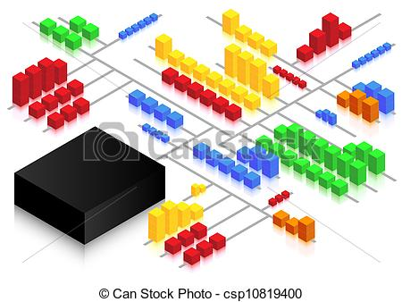 Vector Clipart of Cube Network.
