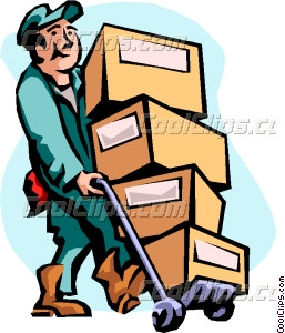 man moving boxes Vector Clip art.