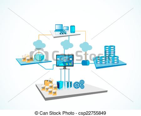 EPS Vector of Distributed technology architecture.
