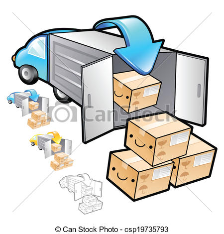 Distribution truck clipart.