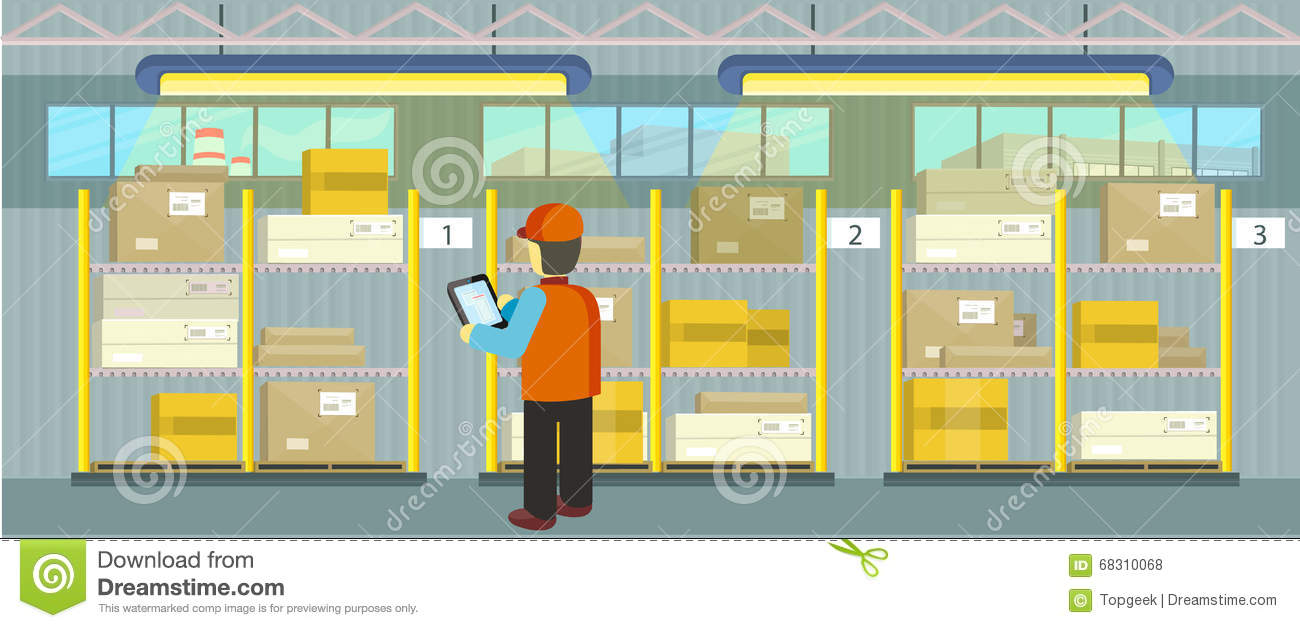 Products On The Shelves Warehouse Stock Vector.