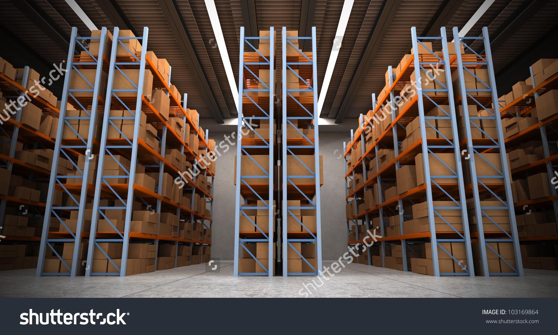3d Rendering Distribution Warehouse Shelves Racks Stock.