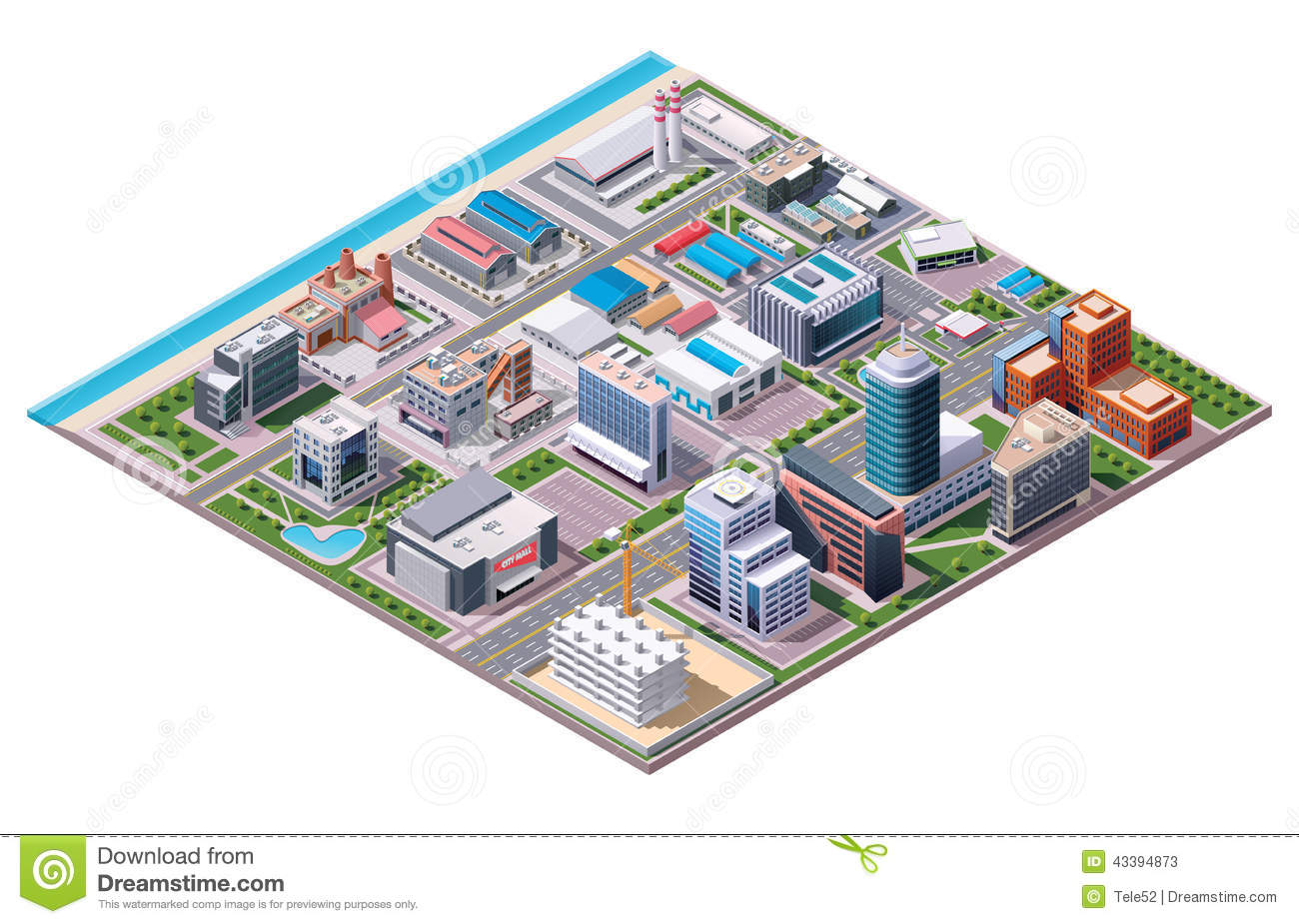 Isometric Industrial And Business City District Map Stock Vector.