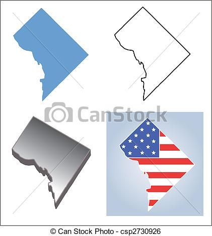 Washington dc map outline clipart.