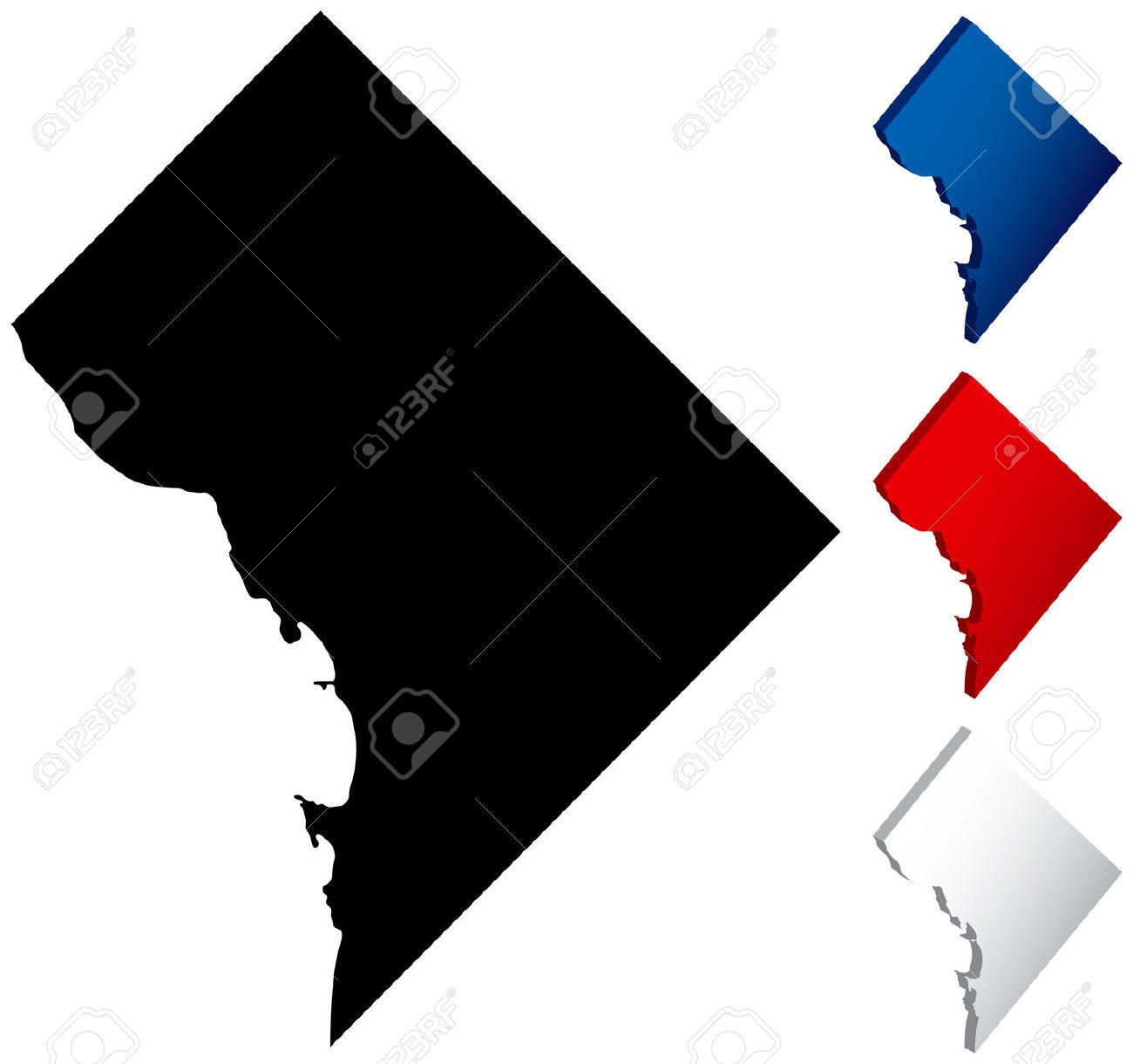 Washington dc map clipart.